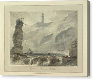 Lighthouse On Flambro-head Canvas Print by British Library