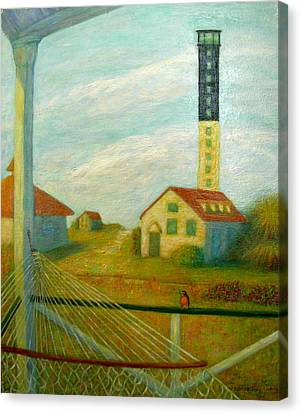 Canvas Print featuring the painting Lighthouse On Sullivan's Island by Jeanne Kay Juhos