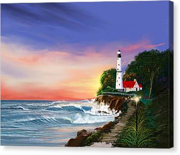 Lighthouse On The Cliff Canvas Print by Anthony Fishburne