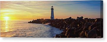 Lighthouse On The Coast At Dusk, Walton Canvas Print by Panoramic Images