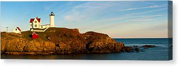 Lighthouse On The Coast, Cape Neddick Canvas Print by Panoramic Images