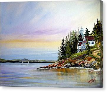 Canvas Print featuring the painting Lighthouse On The Island by Dorothy Maier