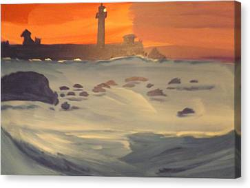 Lighthouse On The Rocks Canvas Print by Don Koester