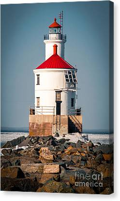 Canvas Print featuring the photograph Lighthouse On The Rocks by Mark David Zahn