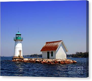 Navigation Canvas Print - Lighthouse On The St Lawrence River by Olivier Le Queinec