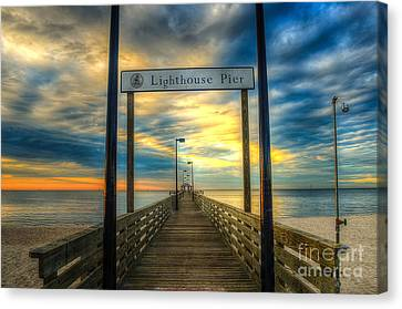 Lighthouse Pier Canvas Print by Maddalena McDonald