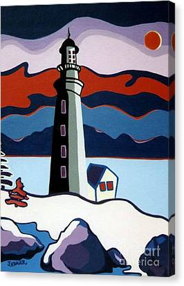 Lighthouse Red Sky Canvas Print by Joyce Gebauer