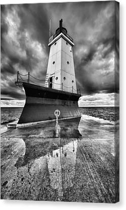 Dark Clouds Canvas Print - Lighthouse Reflection Black And White by Sebastian Musial