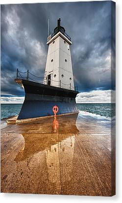 Horizontal Canvas Print - Lighthouse Reflection by Sebastian Musial