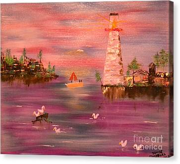 Canvas Print featuring the painting Lighthouse Serenade by Denise Tomasura