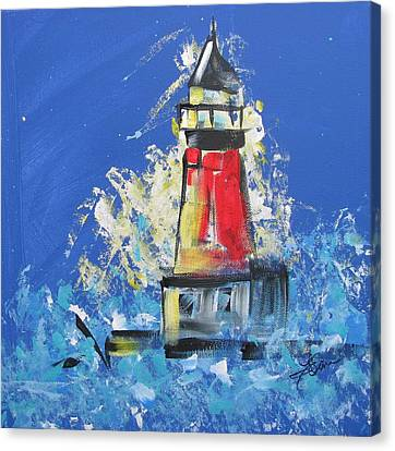 Lighthouse Splash Canvas Print by Terri Einer