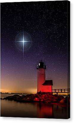 Canvas Print featuring the photograph Lighthouse Star To Wish On by Jeff Folger