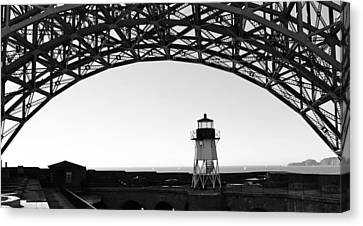 Lighthouse Under Golden Gate Canvas Print by Holly Blunkall