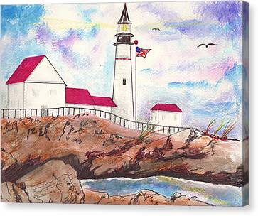 Lighthouse With Colorful Sky Canvas Print by Milton Rogers