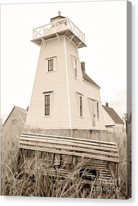 Lighthouse With Lobster Trap Pei Canvas Print by Edward Fielding