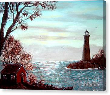 Lighthousekeepers Home Canvas Print by Barbara Griffin