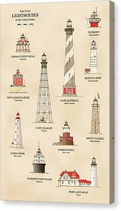 Lighthouses Of The East Coast Canvas Print