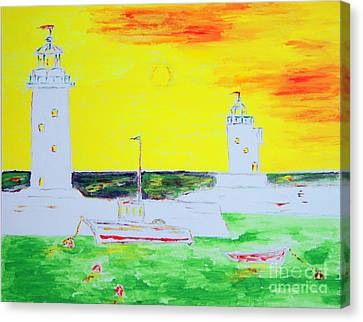 Lighthouses True Trinity Canvas Print by Richard W Linford