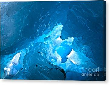 Lighting In Nigardsbreen Glacier Grotto 3 Canvas Print by Heiko Koehrer-Wagner