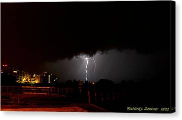 Canvas Print featuring the photograph Lightning 10 by Richard Zentner
