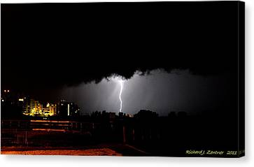 Canvas Print featuring the photograph Lightning 11 by Richard Zentner