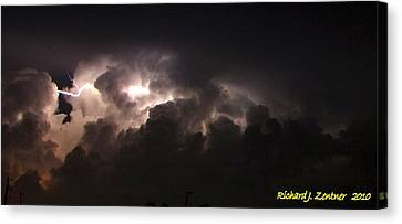 Canvas Print featuring the photograph Lightning 7 by Richard Zentner