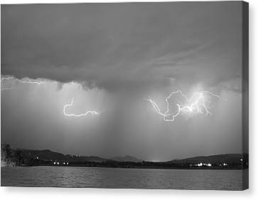 Lightning And Rain Over Rocky Mountain Foothills Bw Canvas Print