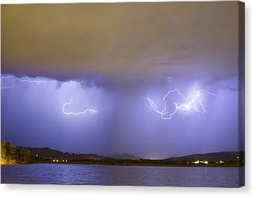 The Lightning Man Canvas Print - Lightning And Rain Over Rocky Mountain Foothills by James BO  Insogna