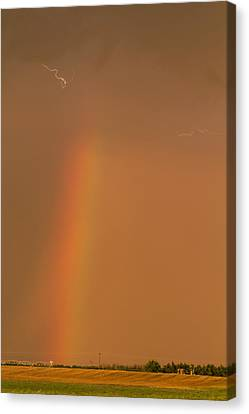Canvas Print featuring the photograph Lightning And Rainbow by Rob Graham