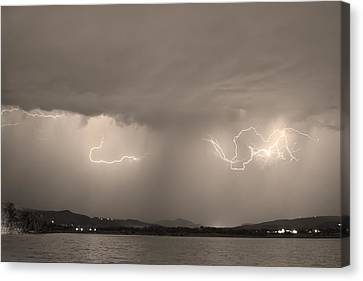 The Lightning Man Canvas Print - Lightning And Sepia Rain Over Rocky Mountain Foothills by James BO  Insogna