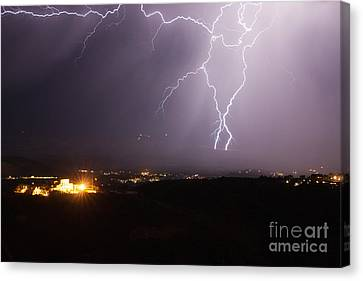 Lightning And The Douglas Mansion In Jerome Arizona Canvas Print