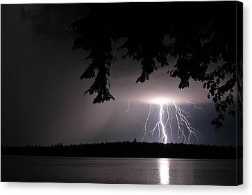 Canvas Print featuring the photograph Lightning At Night by Barbara West