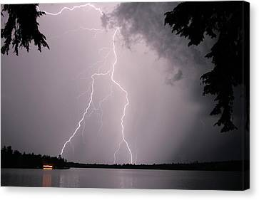 Canvas Print featuring the photograph Lightning At The Lake by Barbara West