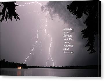 Canvas Print featuring the photograph Lightning At The Lake - Inspirational Quote by Barbara West
