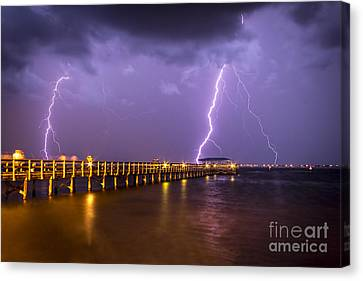 Lightning At The Pier Canvas Print