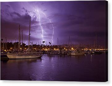 Lightning Behind Santa Barbara Harbor  Mg_6541 Canvas Print