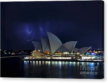 Lightning Behind The Opera House Canvas Print by Kaye Menner