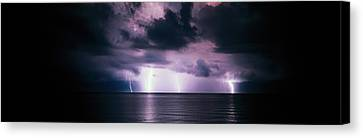 Lightning Bolts Over Gulf Coast Canvas Print by Panoramic Images