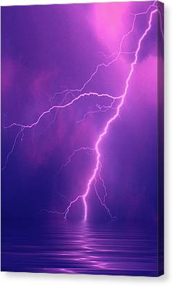 Lightning Bolts Over Water Canvas Print by Jaynes Gallery