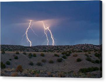 Lightning Dance Over The New Mexico Desert Canvas Print by Mary Lee Dereske