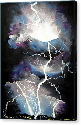 Canvas Print featuring the painting Lightning by Daniel Janda