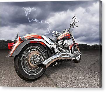 Lightning Fast - Screamin' Eagle Harley Canvas Print by Gill Billington