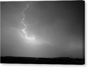 Lightning Goes Boom In The Middle Of The Night Bw Canvas Print by James BO  Insogna