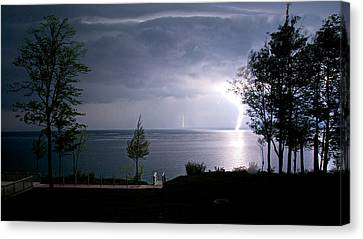 Lightning On Lake Michigan At Night Canvas Print by Mary Lee Dereske