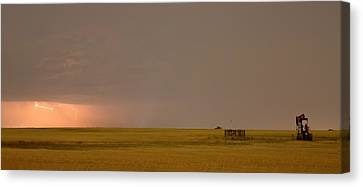 Lightning On The Horizon Of Oil Fields  Canvas Print by James BO  Insogna