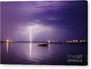 Lightning On The Indian River Canvas Print by Lynda Dawson-Youngclaus