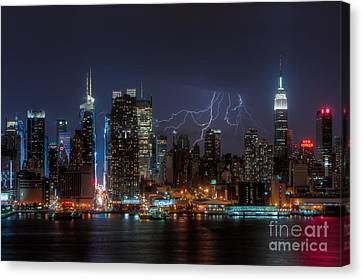 Lightning Over New York City IIi Canvas Print by Clarence Holmes
