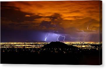 Lightning Over Phoenix  Canvas Print
