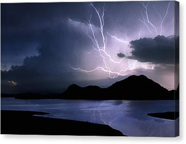 Lightning Over Quartz Mountains - Oklahoma Canvas Print