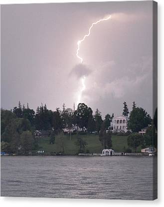 Lightning Over Skaneateles Lake Canvas Print by Robert Green